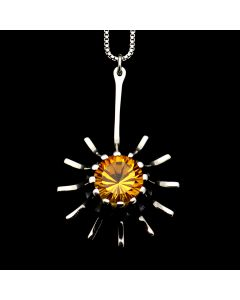 """Sam Patania Collection - """"Super Nova Star"""" Citrine and Sterling Silver Pendant with Chain, 18"""" length (J91699-0720-067)"""