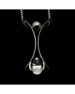 """Sam Patania Collection - """"Romance Petali Small Single"""" White Topaz and Sterling Silver Pendant with Chain, 16"""" length (J91699-0720-073)"""