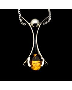 "Sam Patania Collection - ""Romance Petali Small Single"" Citrine and Sterling Silver Pendant with Chain, 16"" length (J91699-0720-074)"