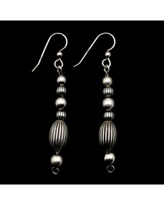 "Sam Patania Collection - ""CB Bead"" Sterling Silver French Hook Earrings, 2.5"" x 0.375"" (J91699-0720-077)"