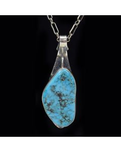 Sam Patania - Morenci Turquoise and Sterling Silver Substructure Pendant and Chain