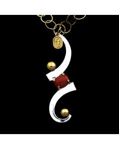 "Sam Patania - Contemporary Coral, Sterling Silver and 18Kt. Gold Necklace, 18"" length (J91699-0819-004)1"
