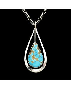 "Sam Patania - Contemporary Nevada Turquoise and Silver Necklace, 19"" length (J91699-0819-007)1"
