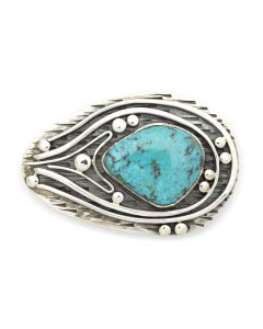 "Sam Patania - ""Bisbee Shockwave"" Couture Bisbee Turquoise and Sterling Silver Belt Buckle, 2"" x 3"" (J91699-0820-002)"