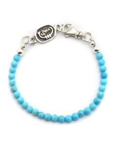 Sam Patania Collection - Kingman Turquoise and Sterling Silver Beaded Bracelet, size 7.25 (J91699-0920-003)