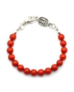 Sam Patania Collection - Enhanced Coral and Sterling Silver Beaded Bracelet, size 8 (J91699-0920-006)