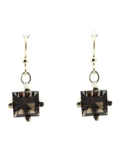 """Sam Patania Collection - """"Dream Squares"""" Smoky Quartz and Sterling Silver Earrings, 1.25"""" x 0.5"""" (J91699-1020-009)"""