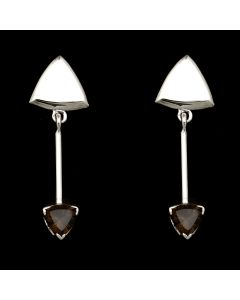 """Sam Patania Collection - """"Brilliant Trillion"""" Smoky Quartz and Sterling Silver Earrings, 2"""" x 0.625"""" (J91699-1020-041)"""