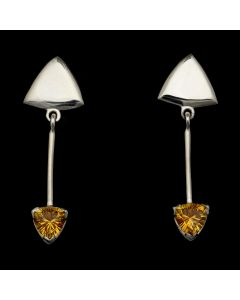 """Sam Patania Collection - """"Brilliant Trillion"""" Citrine and Sterling Silver Earrings, 2"""" x 0.625"""" (J91699-1020-042)"""