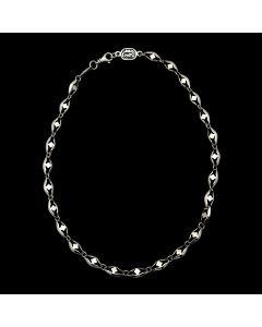 "Sam Patania - Sterling Silver Necklace with Diamond Design, 19"" length (J91699-1120-001)"