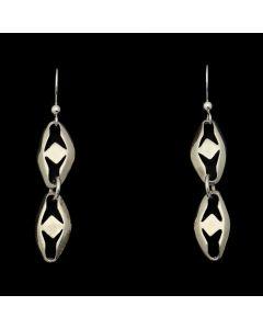 "Sam Patania - Sterling Silver Diamond Design Hook Earrings, 1.75"" x 0.25"" (J91699-1120-003)"