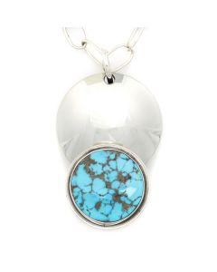 "Sam Patania - Couture Natural Blue Gem Turquoise and Sterling Silver Pendant and Chain, 3.25"" x 2"" pendant (J91699-1220-003)"