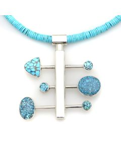"Sam Patania - ""Nebula I"" Couture Natural Number 8 Spider Web Turquoise and Sterling Silver Pendant with Natural Sleeping Beauty Heishi and Sterling Silver Chain, 2.75"" x 2.5"" pendant (J91699-1220-004)"