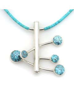 "Sam Patania - ""Nebula II"" Couture Natural Number 8 Spider Web Turquoise and Sterling Silver Pendant with Natural Sleeping Beauty Heishi and Sterling Silver Chain, 2.25"" x 2.375"" pendant (J91699-1220-005)"