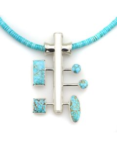 """Sam Patania - """"Nebula III"""" Couture Natural Number 8 Spider Web Turquoise and Sterling Silver Pendant with Natural Sleeping Beauty Heishi and Sterling Silver Chain, 3"""" x 1.75"""" (J91699-1220-006)"""