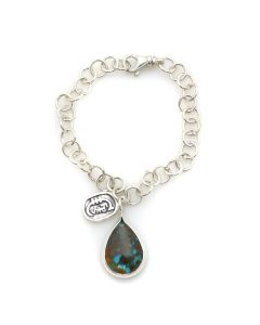 "Sam Patania Collection - ""Aja"" Treated Naja Turquoise and Sterling Silver Silver Bracelet, size 7 (J91699-1220-008)"