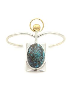Sam Patania - Couture Natural Persian Turquoise, 18K Gold Addition, and Sterling Silver Bracelet, size 6.25 (J91699-1220-010)