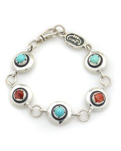 Sam Patania Collection - Dyer Blue Turquoise, Spiny Oyster, and Sterling Silver Sweetheart Bracelet, size 7 (J91699-1220-011)