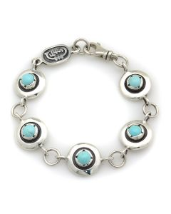 Sam Patania Collection - Dyer Blue Turquoise and Sterling Silver Sweetheart Bracelet, size 7 (J91699-1220-012)