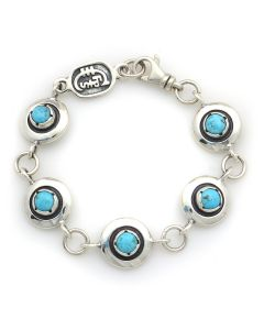 Sam Patania Collection - Kingman Turquoise and Sterling Silver Sweetheart Bracelet, size 7 (J91699-1220-013)