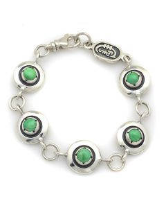 """Sam Patania Collection - """"Northern Lights"""" Turquoise and Sterling Silver Sweetheart Bracelet, size 7 (J91699-1220-014)"""