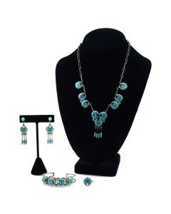 Annie Quam Gasper - Zuni Turquoise Channel Inlay and Silver Necklace, Earrings, Ring, and Bracelet Set c. 1960-70s