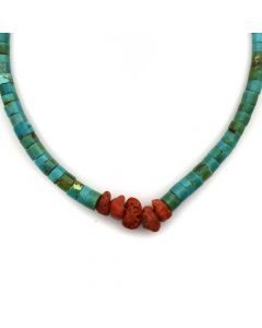 """Navajo Turquoise and Natural Coral Heishi Necklace c. 1950s, 16"""" length"""
