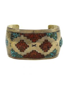 Tommy Singer - Navajo Turquoise and Coral Chip Inlay and Silver Bracelet c. 1970s, size 7.5