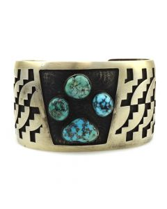 Marcus Coochwikvia - Hopi Crafts Guild Turquoise and Silver Overlay Bracelet c. 1972-75, size 7.5
