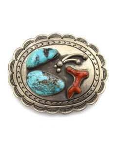 "Navajo Morenci Turquoise, Coral, and Silver Stamped Belt Buckle c. 1950s, 3"" x 3.75"""