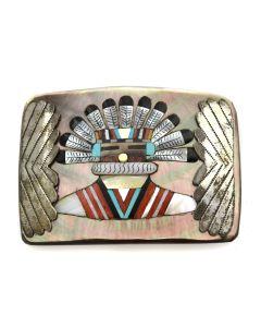 "Joe Zunie - Zuni Multi-Stone Inlay and Silver Kachina Belt Buckle c. 1960-70s, 2.5"" x 3.5"""