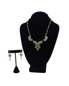 Zuni Petit Point Turquoise and Silver Necklace and Earrings Set c. 1950s