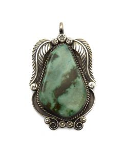 """Possibly Jessie Claw - Navajo Fox Turquoise and Silver Pendant with Feather Design c. 1970s, 2.5"""" x 1.5"""""""