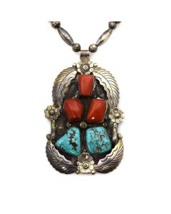 "Lot 167 - Sam Pablo - Navajo Turquoise, Coral, and Silver Pendant with Floral Design and Silver Beaded Chain c. 1970s, 26"" length (J91856A-0819-028)"