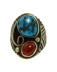 Navajo Stormy Mountain Turquoise, Coral and Silver Ring c. 1970s, size 10.25