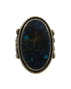 Navajo Lone Mountain Turquoise and Silver Ring c. 1970s, size 6.5