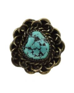 Navajo Turquoise and Silver Ring with Rope Design c. 1950s, size 13
