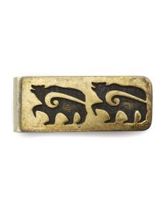 "Hopi Silver Overlay Money Clip with Bear Design c. 1960s, 0.75"" x 2"""