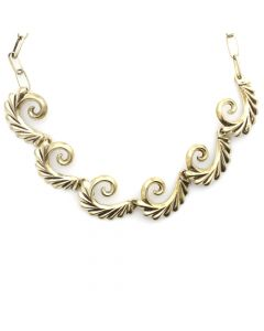 "Navajo Silver Sandcast Necklace with Spiral Design c. 1950s, 15"" length"