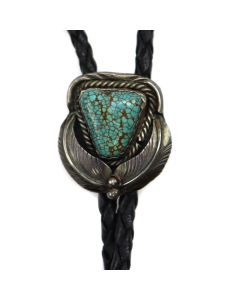 "Navajo Number 8 Turquoise, Silver, and Leather Bolo Tie with Floral Design c. 1950s, 1.25"" x 1.125"" (J91924-0321-001)"