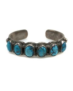 Navajo Turquoise and Silver Bracelet, c. 1920s, Size 6.5 (J91924-0614-011)