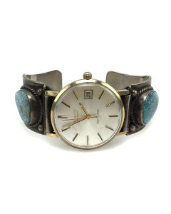 Navajo Number 8 Turquoise and Silver Watch Band, circa 1940s, Size 7 (J91924-0614-019)