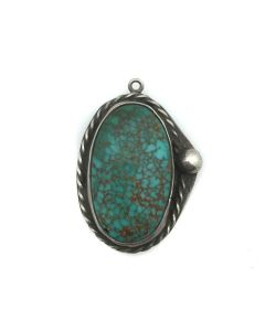 """Navajo Turquoise and Silver Pendant, c. 1950s, 1.125"""" x 0.75"""" (J91924-0614-033)"""