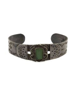 Mexican Fred Harvey Style Turquoise and Silver Bracelet c. 1930s, size 6 (J91924-0614-036)