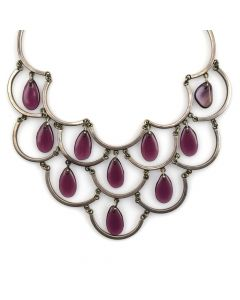 """Mexican Amethyst and Silver Necklace c. 1950s, 14.5"""" length"""