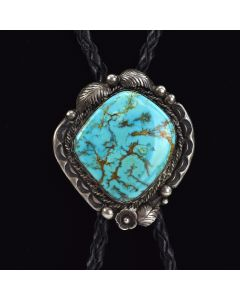 "Tom Willeto - Navajo Red Mountain Turquoise and Sterling Silver Bolo Tie c. 1960, 22.5"" length"