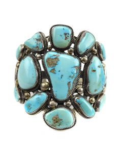 Navajo Morenci Turquoise Cluster and Sterling Silver Bracelet c. 1950s, size 7.5