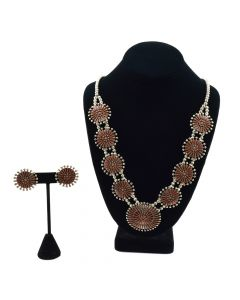 Zuni Coral Petit Point and Silver Necklace and Earrings Set c. 1980s
