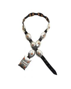 Navajo Coral and Silver Concho Belt c. 1990s, sizes 31-34