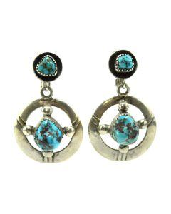 "Frank Patania Sr. (1899-1964) - Thunderbird Shop - Kingman Turquoise and Sterling Silver Post Earrings c. 1960s, 1"" x 1"" (J91963-0520-003)"